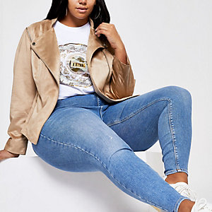 Plus beige faux suede biker jacket