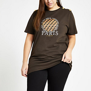RI Plus - Bruine T-shirt met 'Paris l'amour'-print