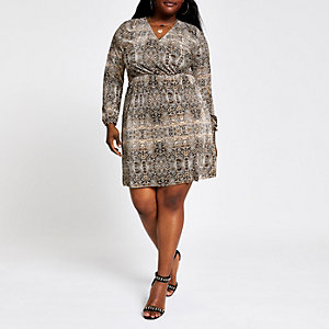 Plus brown snake print plisse swing dress