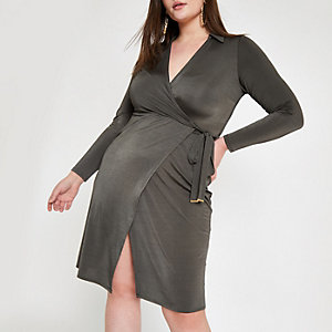 Plus khaki wrap front tie waist dress