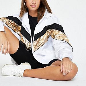 White metallic chevron track jacket