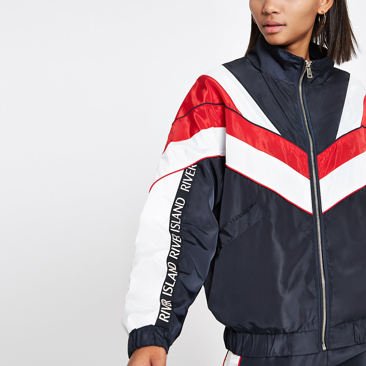 Navy block high neck track jacket