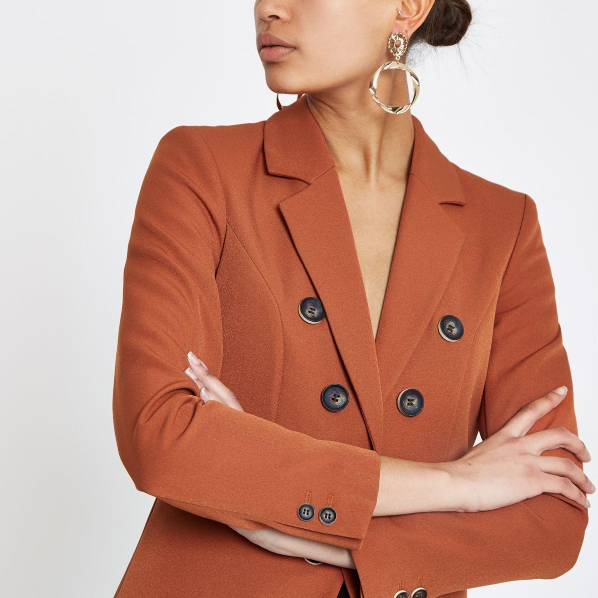 Copper button front blazer