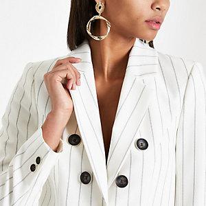 Crème gestreepte tailored blazer