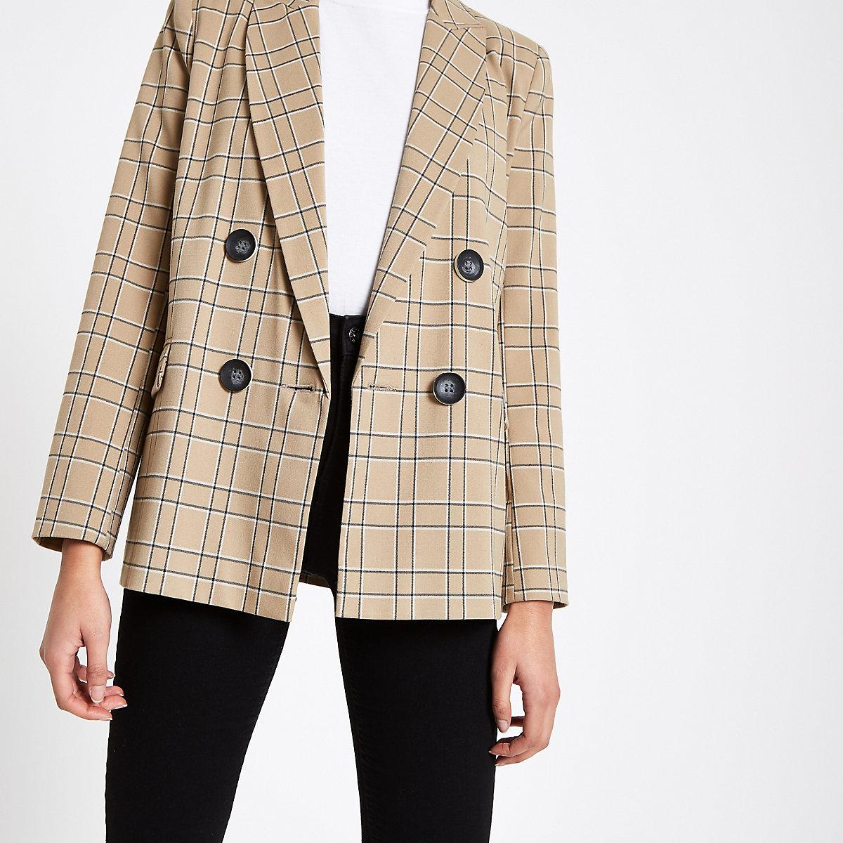 Brown check print button front blazer