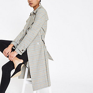 Grey check double breasted trench coat