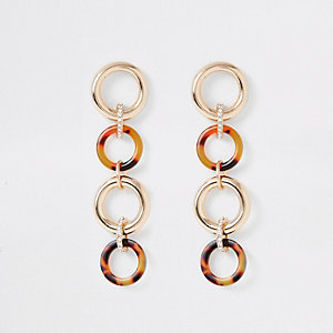 Brown interlinked circle drop earrings