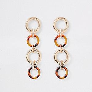 Brown interlinked circle drop earrings