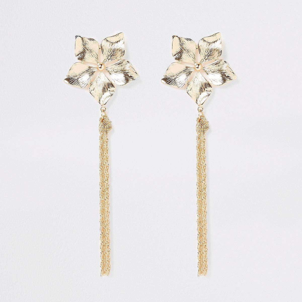 Gold colour flower chain drop earrings