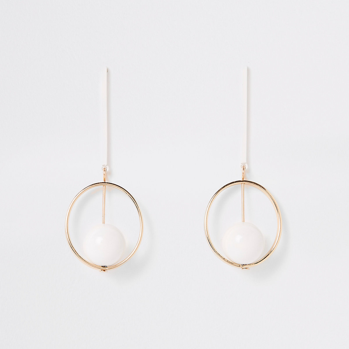 White round bar drop earrings
