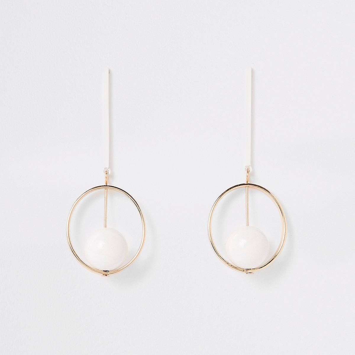 White round bar drop earrings