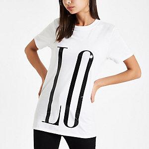 T-shirt blanc imprimé «Love» devant et derrière