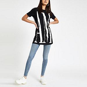 T-shirt noir à imprimé «Amour» au dos