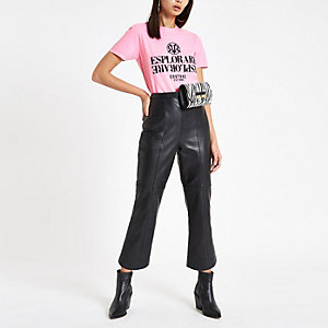 Pink 'Esplorare' fluro print T-shirt