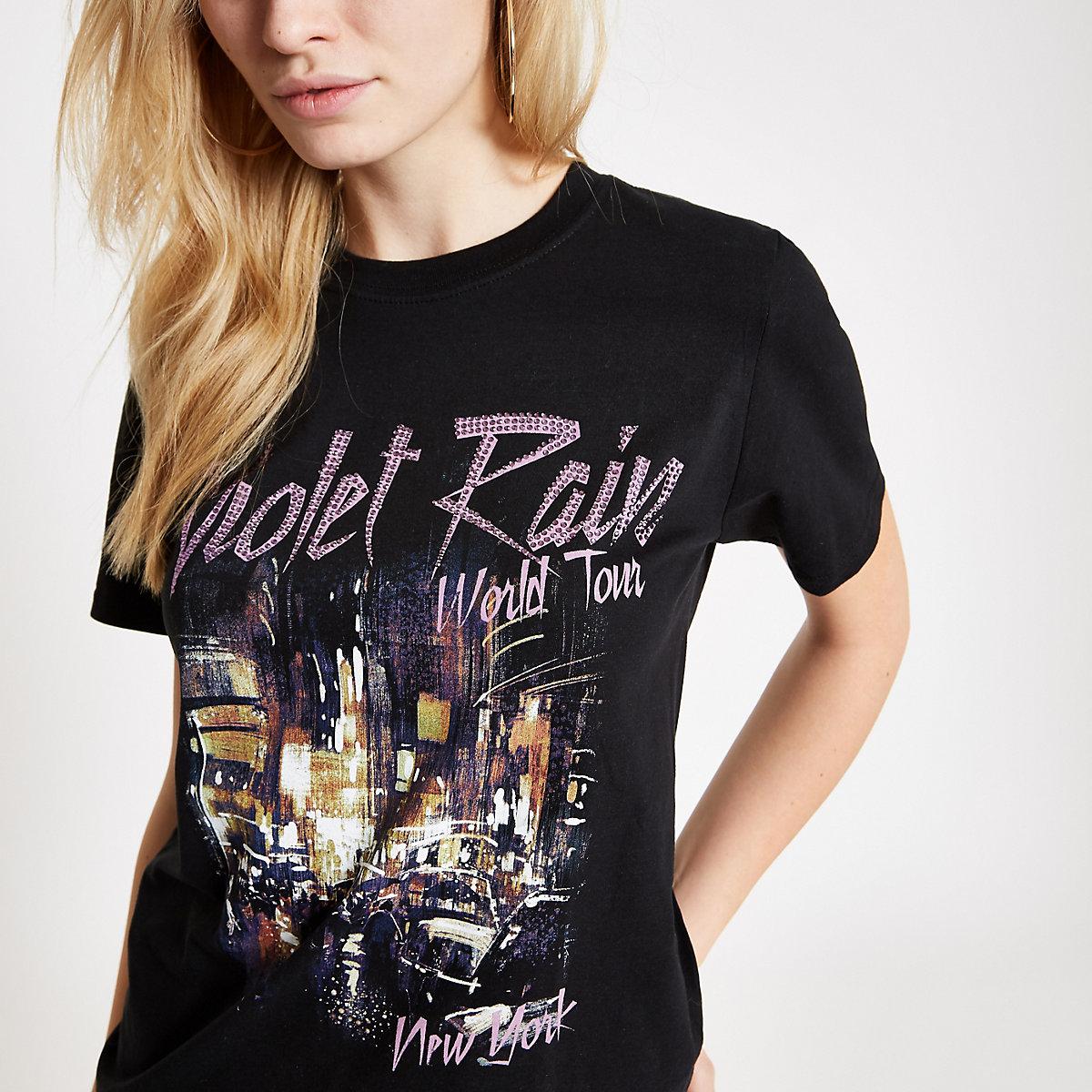 Black 'Violet Rain' heatseal print T-shirt