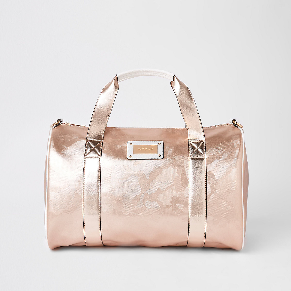 Rose gold camo large duffle weekend bag