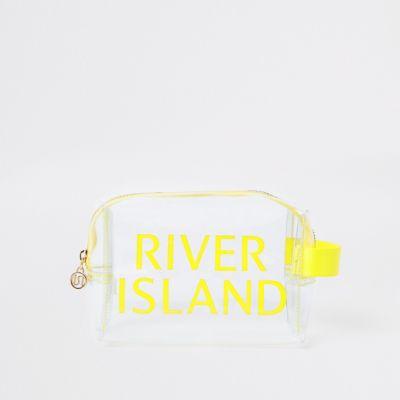 Yellow Perspex Ri Makeup Bag by River Island