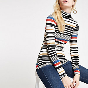 Blue stripe turtle neck top