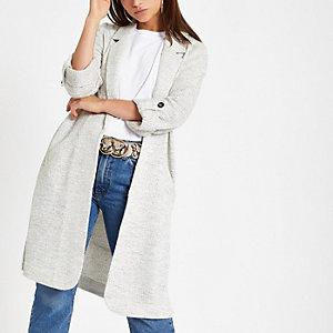 Petite cream jersey duster jacket