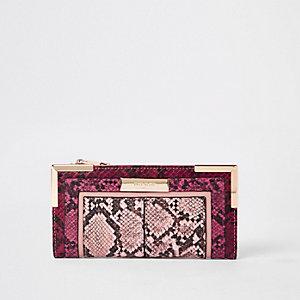 Lichtroze uitvouwbare portemonnee met slangenprint