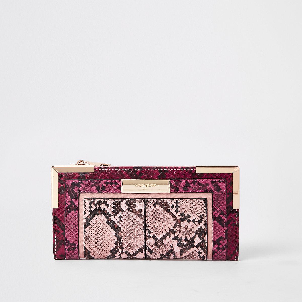 Light pink snake print fold out purse