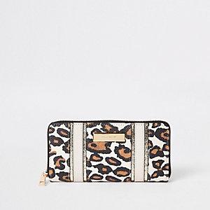 Brown leopard print zip around purse