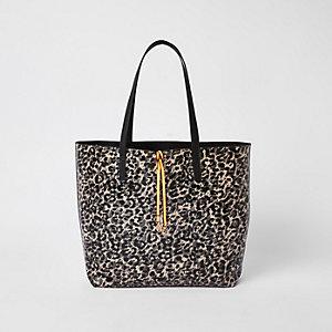 Schwarze Shopper-Tasche mit Leoprint