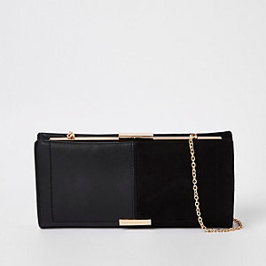 Black mixed panel clutch bag