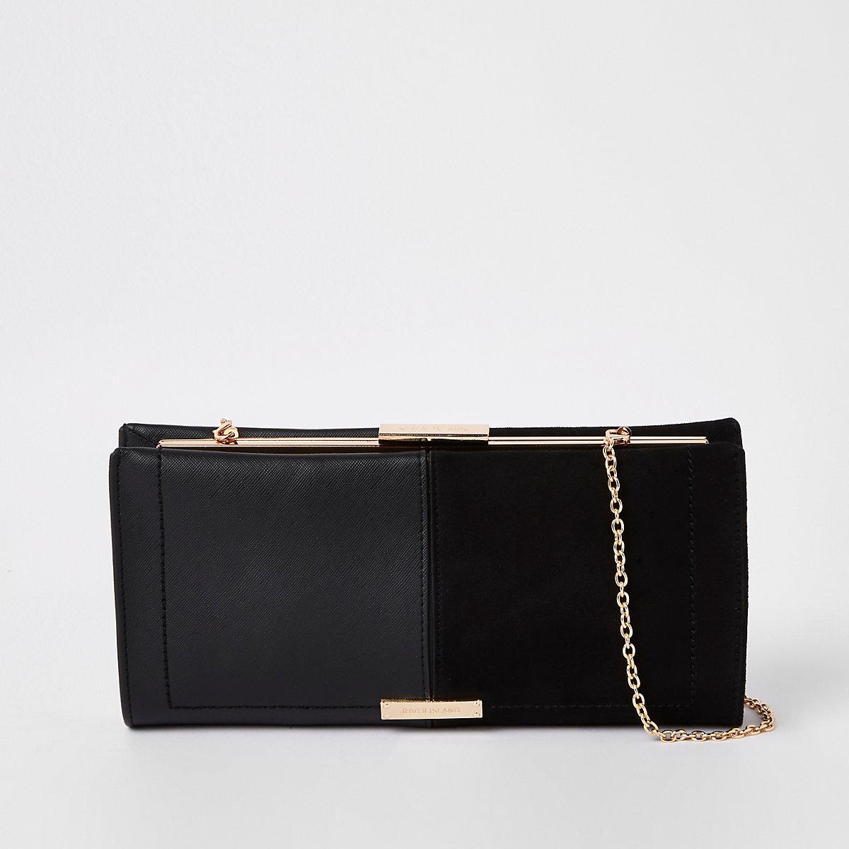 Black mixed panel clutch bag