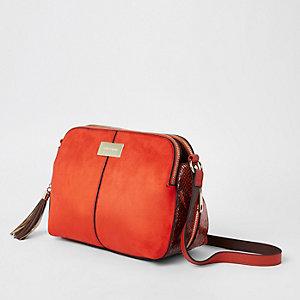 Orange triple compartment cross body bag