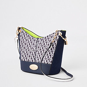 Navy RI monogram bucket cross body bag