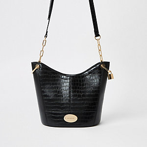 Black large cross body bucket bag