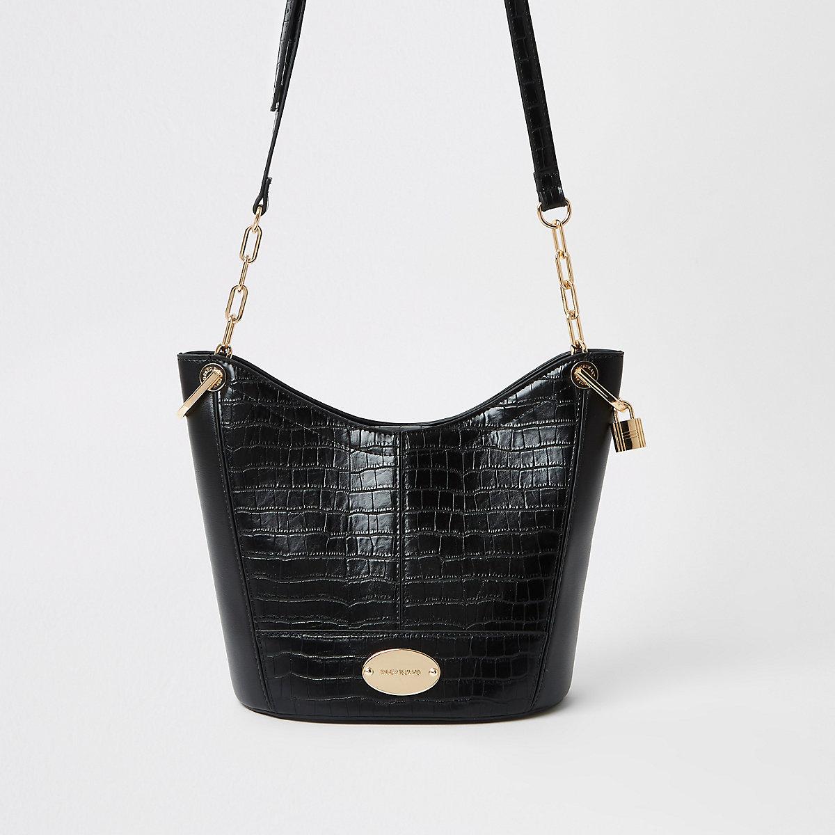 Black large cross body bucket bag