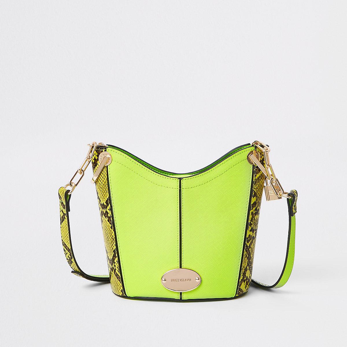 Neon yellow snake bucket cross body bag