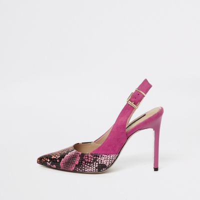Pink Snake Print Slingback Court Shoes by River Island