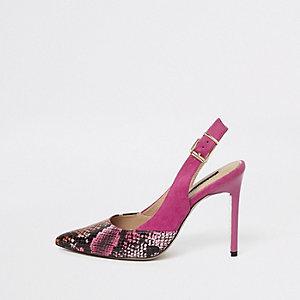 Pink snake print slingback pumps