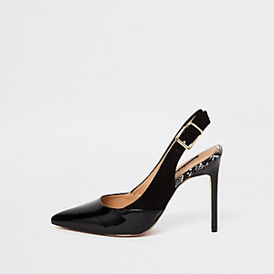 Black pointed toe sling back court shoes