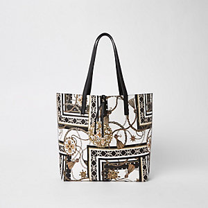 White print beach tote bag
