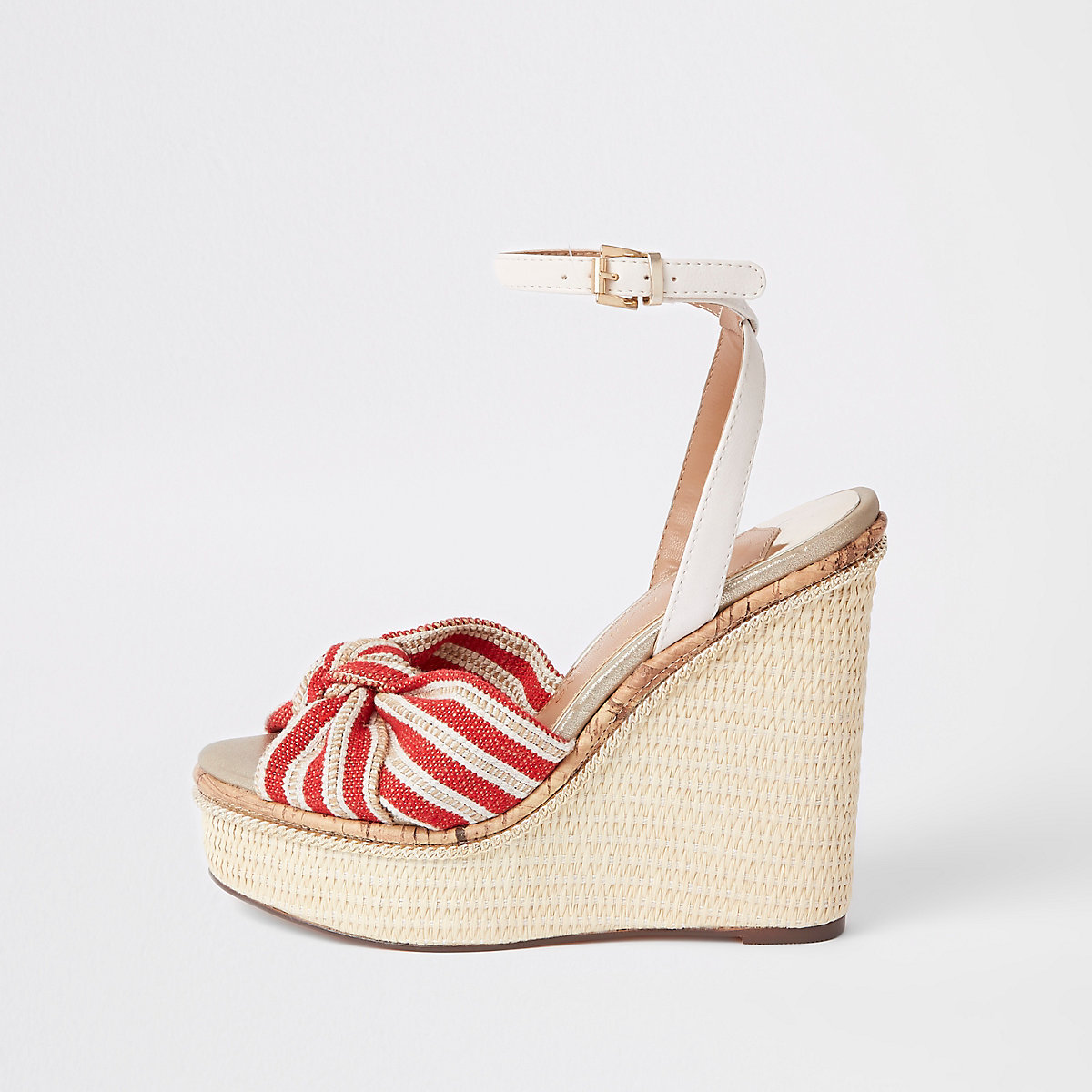 Red stripe bow platform wedges