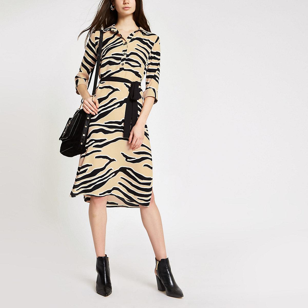 Beige zebra print shirt dress