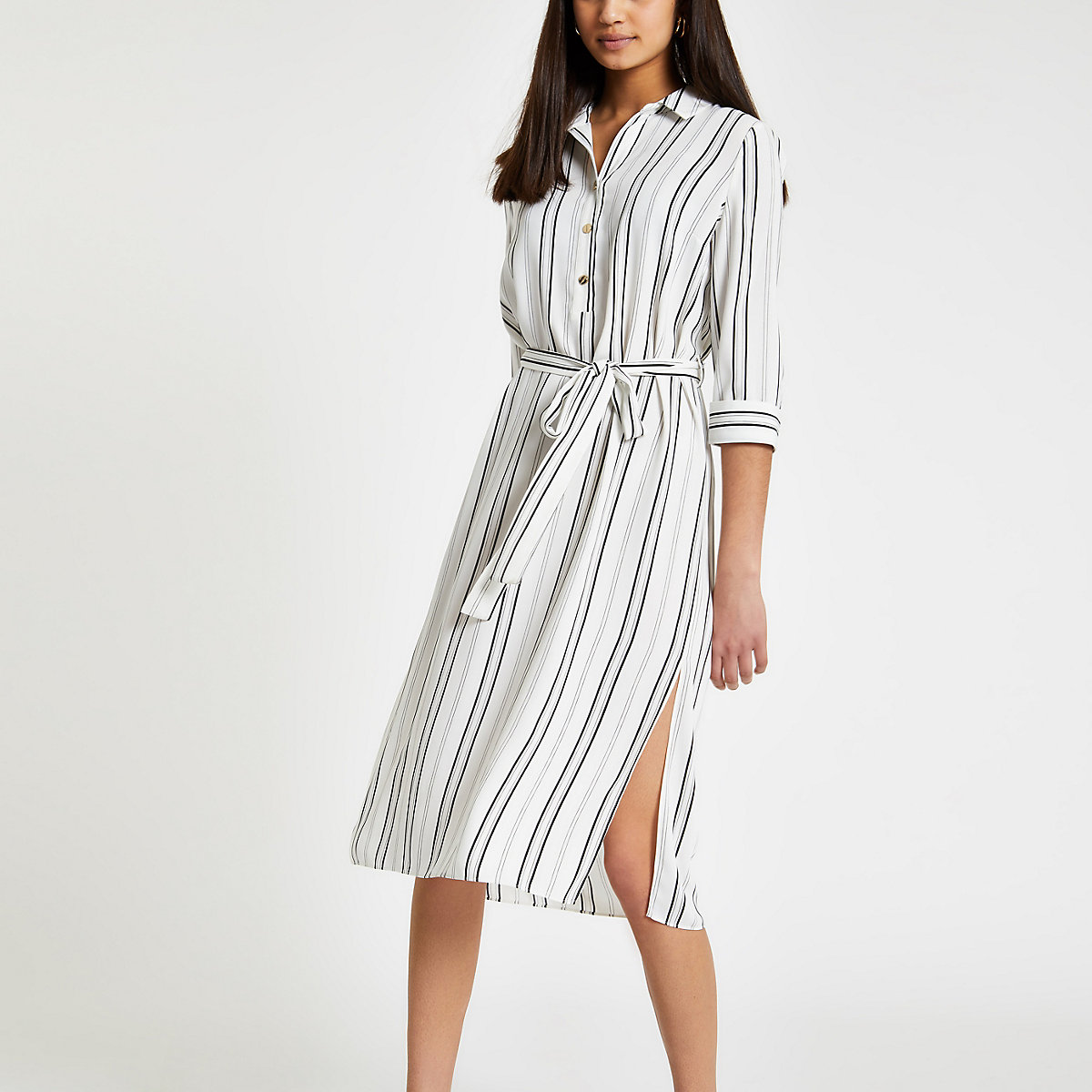 Cream stripe tie waist shirt dress