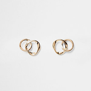 Gold tone wavy interlinked stud earrings