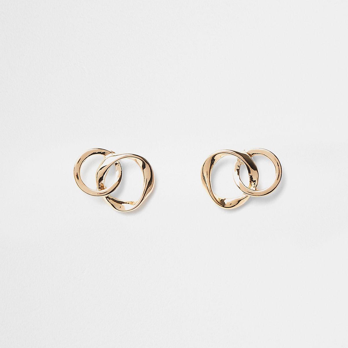 Gold plated wavy interlinked stud earrings