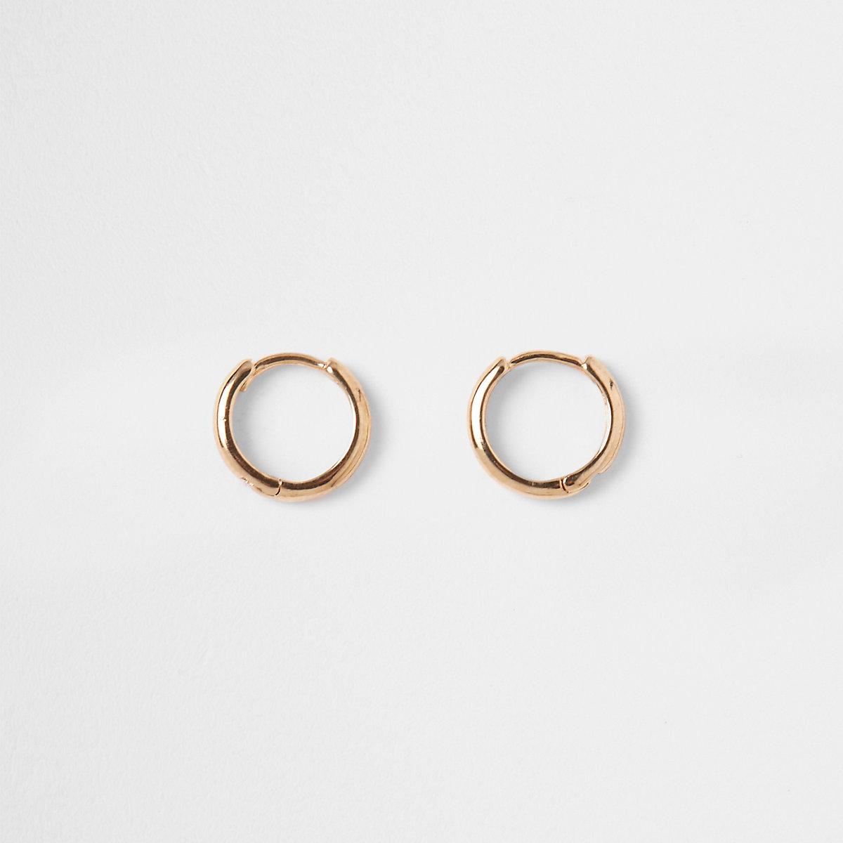Gold plated sleeper hoop earrings