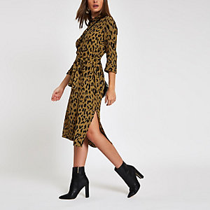 Khaki leopard print tie waist shirt dress
