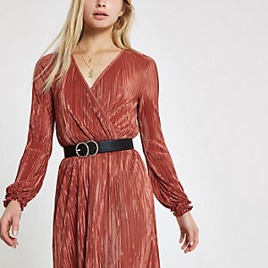 Rust plisse wrap front mini dress