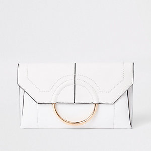 White circle front envelope clutch bag