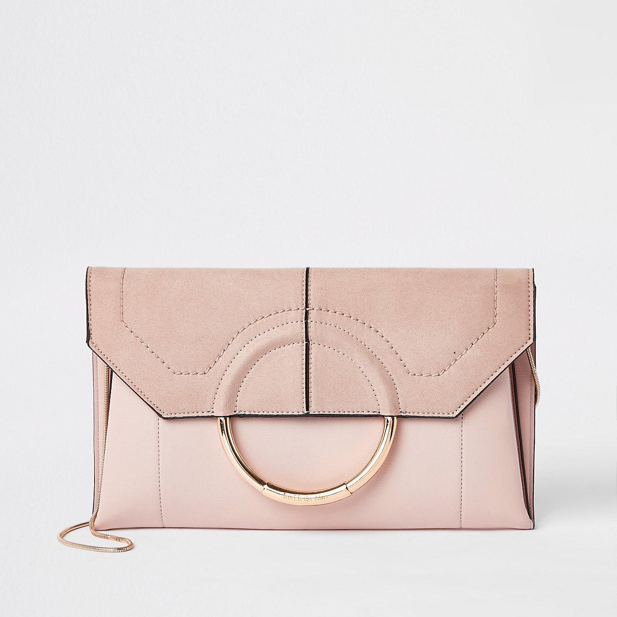 Light pink circle front envelope clutch bag