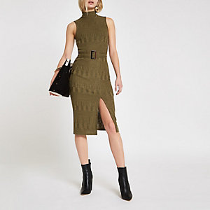 Khaki textured high neck bodycon dress