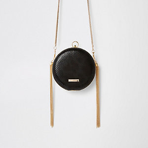 Black circle tassel cross body bag